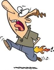 Cartoon of man with pants on fire